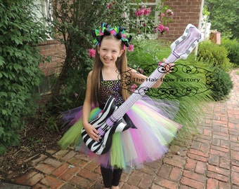 The Hair Bow Factory Rock Star Halloween Costume Tutu Dress with guitar Size 12-24 Months to Size 14
