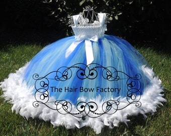 The Hair Bow Factory Royal Blue and Light Blue Feather Tutu Dress Size 12-24 Months-12