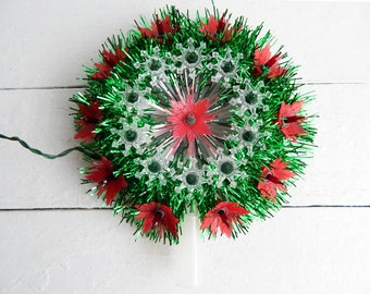 Vintage Christmas Tree Topper - Lighted Green Tinsel Garland Poinsettia Wreath - New Old Stock Original Box