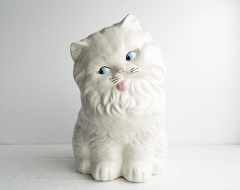 Vintage Giant White Persian Cat Ceramic Figurine Statue - Kitchy Nursery Decor