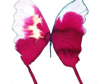 "cherry red  butterfly with gold and pale blue tipped wings 8 X 10"" original watercolour painting"