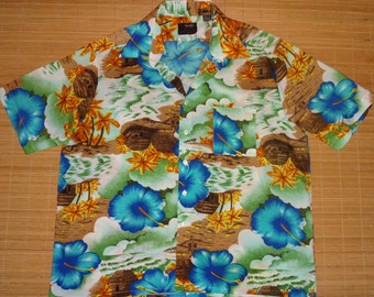Men's Vintage 70s Van Court Blue Hibiscus Hawaiian Shirt - XL - The Hana Shirt Co