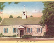 Ellenville, New York, Post Office - Linen Postcard - Unused (G)