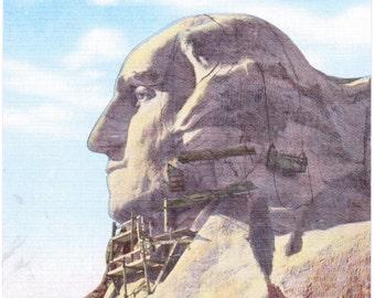Mount Rushmore, Washington's Profile, Black Hills, South Dakota, George Washington - Linen Postcard - Unused (KK)
