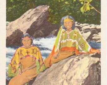 Smoky Mountains, National Park, Cherokee Maidens, Indian Postcards - Vintage Postcard - Postcard - Unused (H)