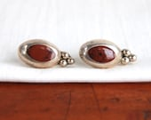 Mexican Jasper Earrings Sterling Silver Posts Vintage Desert Domes Post Stud Taxco Mexico