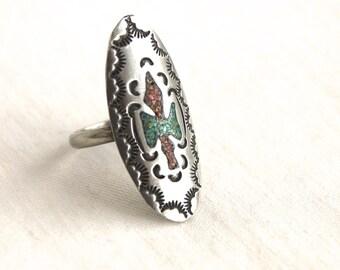 Southwestern Bird Ring Size 6 .75 Vintage Water Bird Inlaid Turquoise Red Coral Statement Ring Peyote Bird