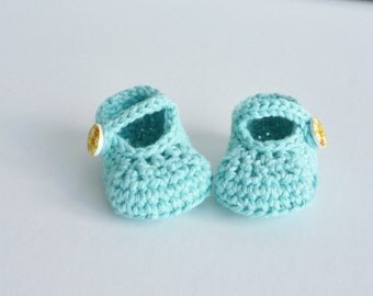 Baby shoes - newborn size - cotton sandals - Mary Jane's - aqua blue - soft recycled cotton - yellow button fastening