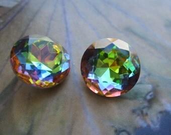 Czech Vitrail 60ss Doublet Glass Gems 4Pcs.
