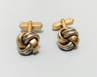 Vintage 1970s Gold & Silver Knot Cuff Links