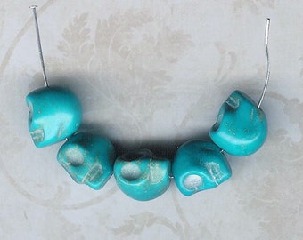DOLLAR DEAL, Clearance, Turquoise Skull Bead, 13mm Stone Bead, Magnesite Stone, Bargain Deal, Best Deal, Turquoise Beads, Skeleton Head Bead