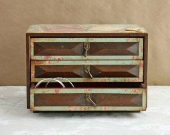 Vintage shabby chic jewelry box, decoupaged