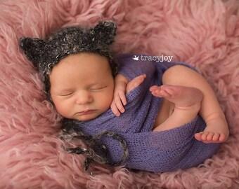 new born cat bonnet,animal bonnet,knitted new born bonnet