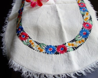 Embroidered Dresser Scarf Colorful Hand Embroidery Vintage Table Runner Retro