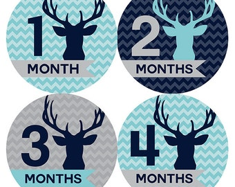 FREE GIFT, Woodland Baby Month Stickers, Boy, Deer, Antlers, Navy, Aqua, Gray, Grey, Woodland Monthly Baby Stickers, Baby Boy Month Stickers