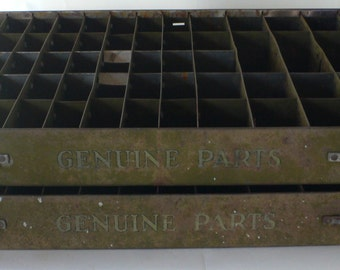 Vintage metal parts drawers, storage, industrial design, compartments, from Diz Has Neat Stuff