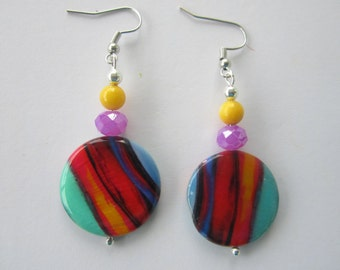 Dazzling Dangle Lollipop Earrings of Multicolor