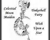 Celestial MOON Maiden ~ Tinkerbell Fairy ~ Wish Upon a STaR ~ White Gold Plated Pendant Dangle Charm Bead ~ fits European Bracelets - MD