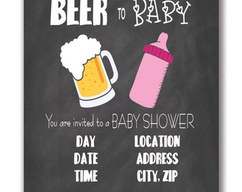 Customizable Beer To Baby Baby Shower Invitation - [Digital File ONLY]