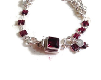 Garnet Bracelet - January Birthstone - Sterling Silver Jewelry - Garnet Gemstone Jewellery - Red - Chainmaille - Box Clasp