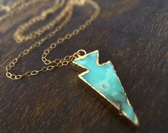 Green Necklace - Arrow Jewelry - Chrysoprase Gemstone Jewellery - Gold - Southwestern - Native American - Long Chain