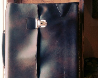 Classic 1960s Briefcase Dark Brown Flare Leather
