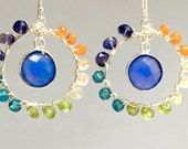 Blue Chalcedony Wire Wrapped Multicolored Gemstone Beaded Earrings