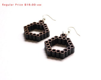 SALE eco friendly geometric pattern bamboo wood earrings - Bamboo Hexagon Earrings.  natural bamboo