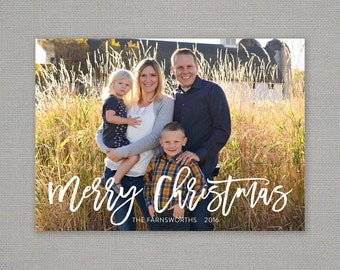 Christmas Card - Merry Christmas - hand lettering script - overlay - full bleed - white - simple - photo