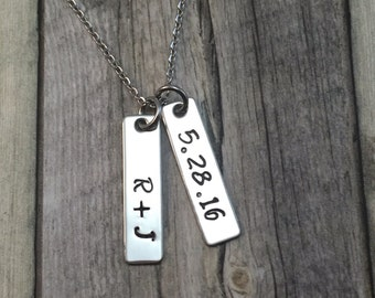 anniversary necklace, personalized hand stamped stainless steel