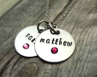 Two Name necklace with birthstone crystals, personalized mothers necklace