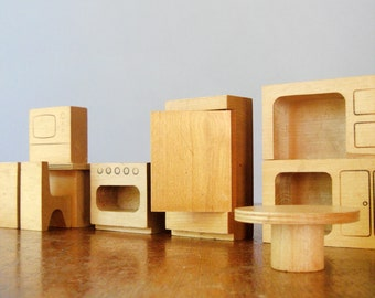 Vintage Creative Playthings Wooden Dollhouse Furniture - 10 Pieces