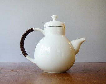 Mid Century Kenji Fujita for Freeman Lederman Teapot Rattan Wrapped Handle