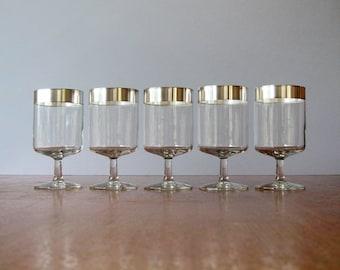 Single Mid Century Thorpe Allegro Silver Band Short Wine Goblet