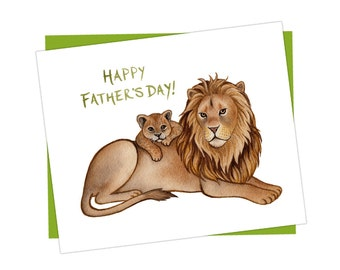 """Lion """"Happy Father's Day"""" Card / Father's Day Card / Nature Art / Greeting Card"""