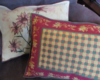 MOVING SALE pair of Sunflowers and fall leaves pillows reversible green and rust plaid
