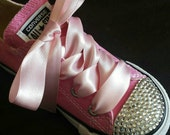 Pink Converse, Bling Converse, Baby Toddler, Crystals, Bedazzled, Pageant Shoes, Party Shoes, Girls Converse