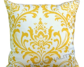 SALE Designer Pillows- Premier Prints Traditions Yellow Damask Pillow Cover- All Sizes- Hidden Zipper Closure- Throw Pillow- Cushion Cover
