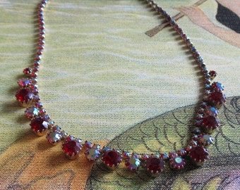 Vintage Signed WEISS Ruby Red and AB Headlight Rhinestone Choker Necklace