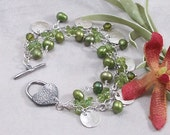Peridot, Freshwater Pearl, Swarovski Crystal 3 Strand Bracelet w/ Metal Clay Sterling Silver Toggle