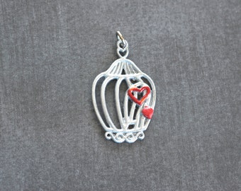 Silver Patina Birdcage With Red Hearts -34x21mm- Pendant - 1 Piece