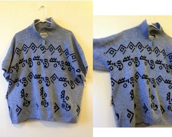 Kinetic 1980s New York Oversized Sweater / Blue Vintage Sweater / Cool Gift / Plus Size Vintage / Made in USA Vintage