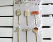 Carpe Diem Decorative Clips by The Reset Girl and Simple Stories, Snap product for A5 or mini planners, for scrapbooking, card making, art