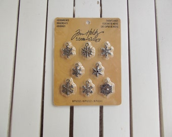 Tim Holtz, Ideology Adornments Snowflakes, antiqued silver, 8 pcs. per pkg, scrapbooking embellishments for winter, card making trinkets
