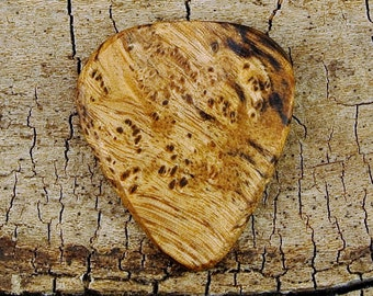 Satinwood Burl - Limtited Availability - Grain Patterns and Colors Vary - Wood Guitar Pick- Engraved Guitar Pick Option Available