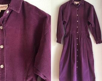 Purple corduroy dress size small