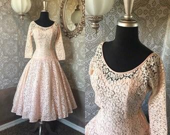 Vintage 1950's Pale Pink Lace Drop Waist Dress XS