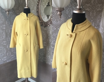 Vintage 1960's Yellow Wool Coat M/L