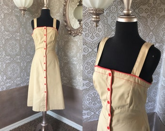 Vintage 1970's 80's Tan and Red Button Front Sundress Medium