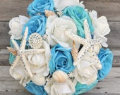 Beach Destination Wedding, Aqua and Ivory Rose bouquet with Seashells, Rhinestone Pins, Starfish with Rhinestones, Bling Bouquet
